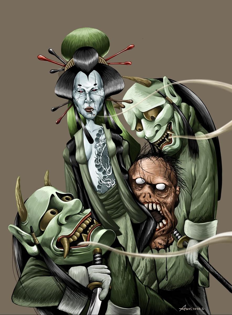陳志韋說,很喜歡自己創作的插畫鬼島青后,把自己靈魂畫進去才是最真的創作!