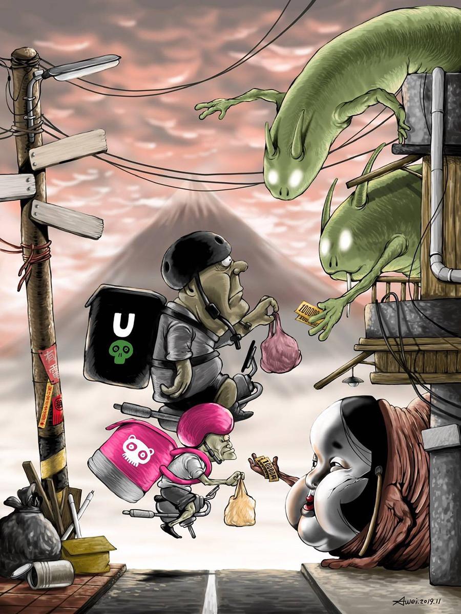陳志韋「外送來了」手繪作品,則是現代人的日常。