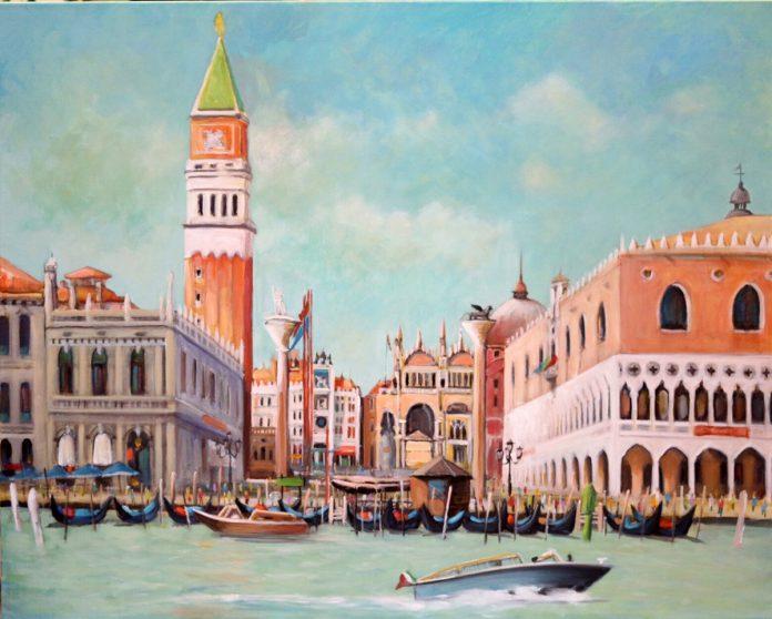 威尼斯遠跳聖馬可廣場乘著船緩緩靠近威尼斯島每座建築物都接受了遊客們驚嘆讚美聲