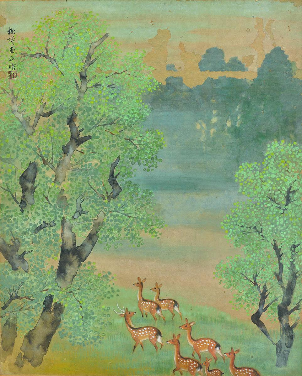 林玉山〈鹿苑〉1958,膠彩,68.5x55.5cm,高雄市立美術館典藏