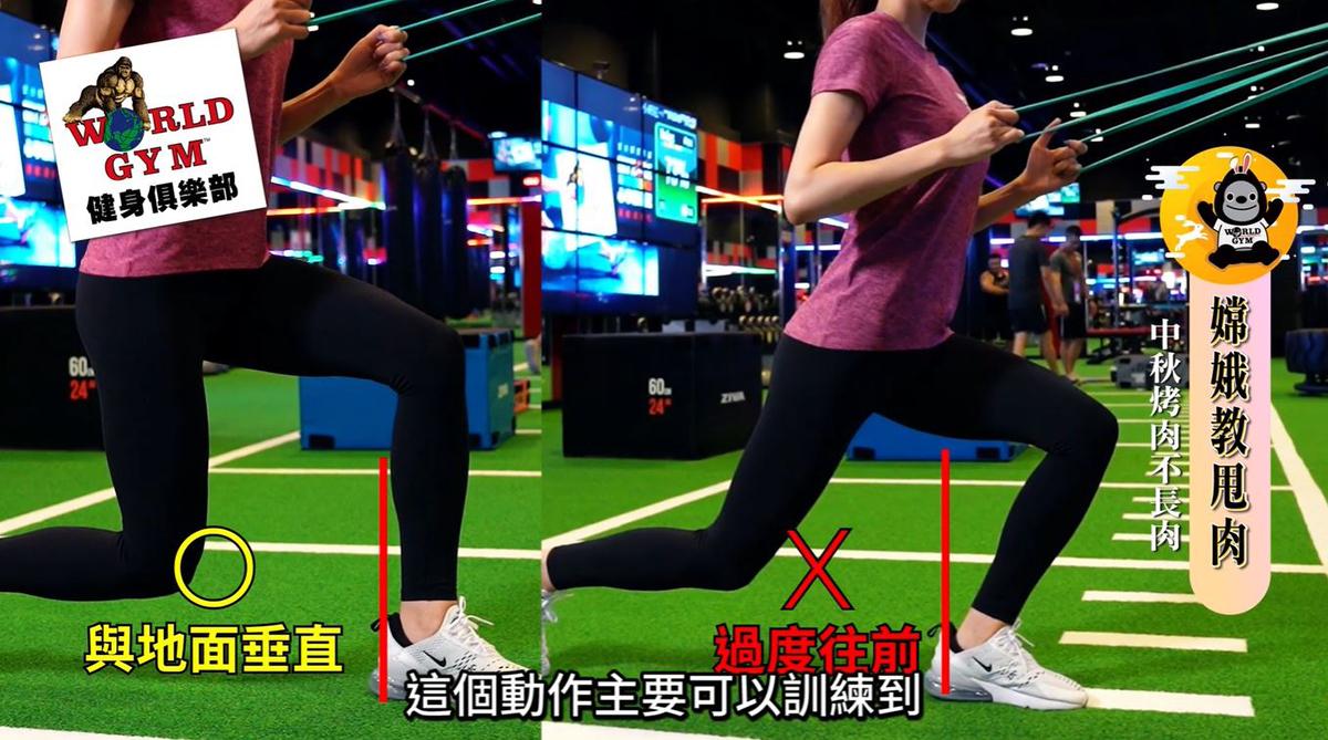 彈力繩弓箭步Lunge  《訓練部位》背部、臀部、腿部肌群。