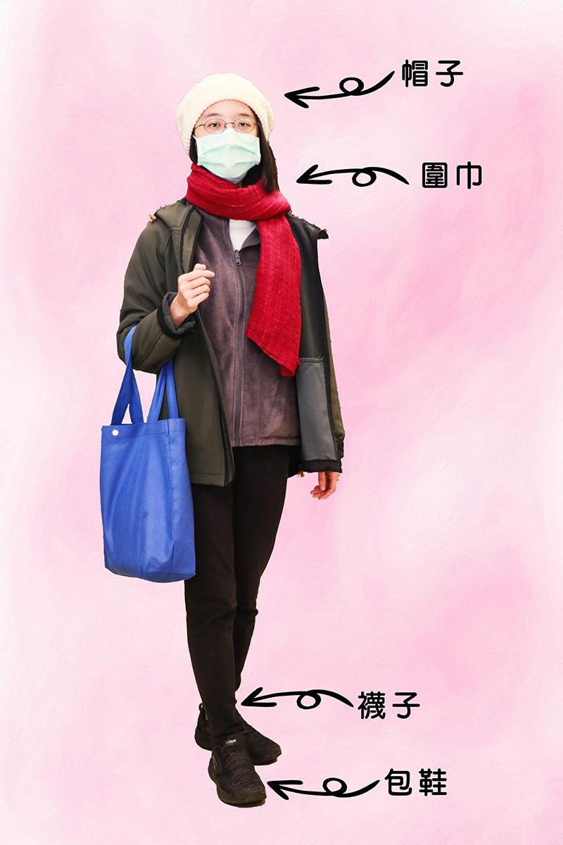 寒流來襲外出應戴帽子、圍巾保護頭部與頸部,足部應穿襪子加上包鞋保暖。