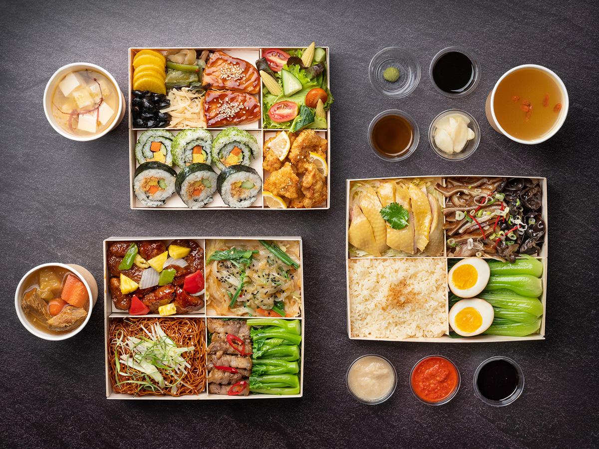 台北文華東方酒店6月1日起推出精緻便當,日式雙饗(左上)、粵式經典(左下)、秘製招牌海南雞飯(右)共3款