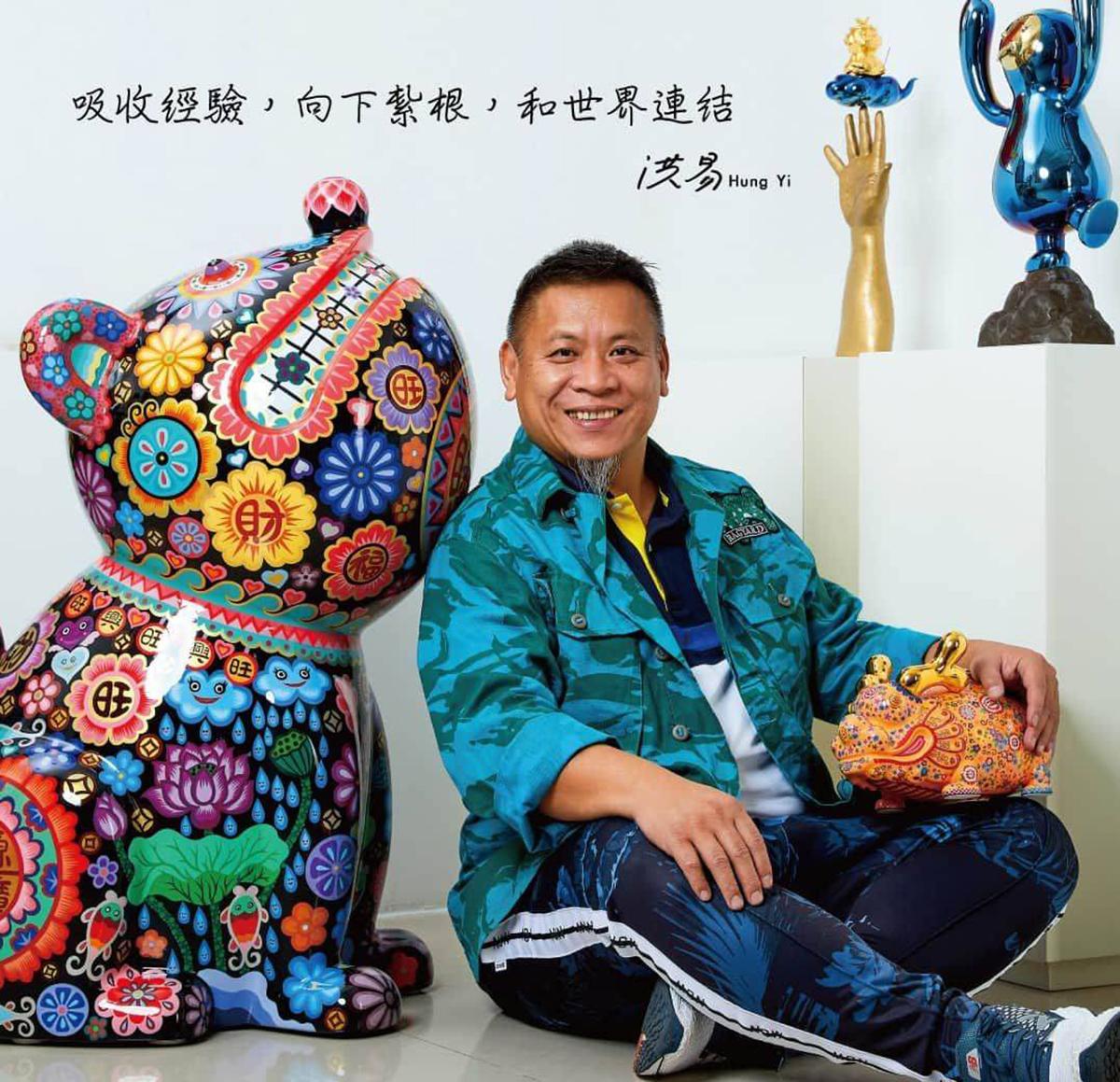 洪易美術館的洪易大師特別送來剛出爐的《無尾熊》以及大家都喜愛的《金錢鼠》喜氣充滿了整個展場
